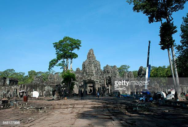 Restoration of Bayon Temple in Angkor Thom, Cambodia