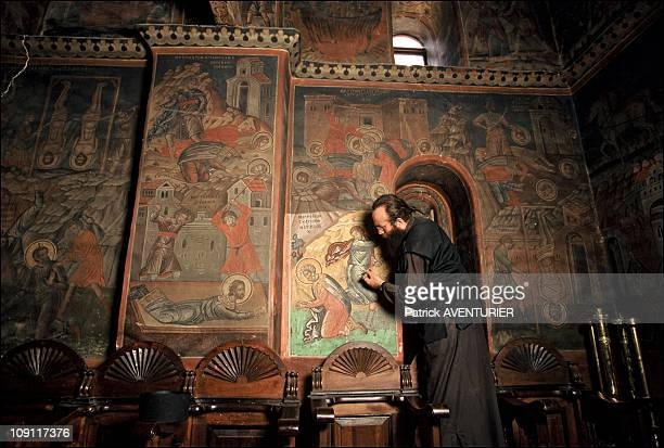 Restoration Of Mount Athos Icons On January 9Th Greece Father Paul Head Of The Brotherhood Of St Andreas Here In Koutloumousiou He Is Cleaning The...