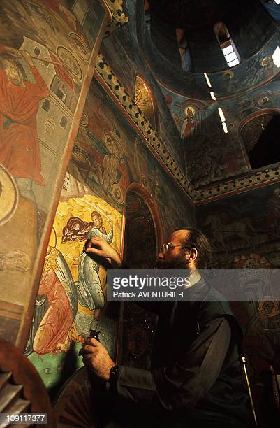 Restoration Of Mount Athos Icons On January 9Th Greece Father Paul Restore The Murals
