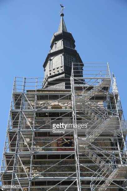Restoration of Saint Gervais baroque church Scaffold France