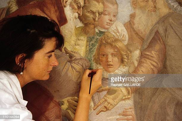 Restoration of the fresco of Tiepolo at Musee Jacquemart Andre in Paris France on July 09 1998