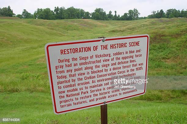 Restoration of the historic scene sign at Vicksburg National Military Park