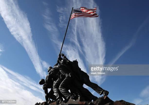 Restoration of the Iwo Jima US Marine Corps War Memorial has been completed on November 21 2017 in Arlington Virginia PhilanthropistDavid Rubenstein...
