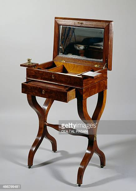 Restoration style dressing table in mahogany ca 1815 open France 19th century