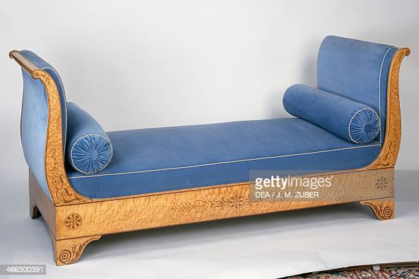 Restoration style speckled maple daybed with amaranth inlays France 19th century