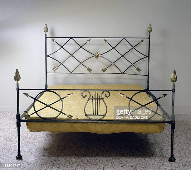 Restoration style wrought iron camp bed with gilt bronze decoration ca 18151820 France 19th century