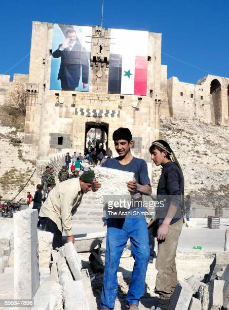 Restoration work continues at Aleppo Castle on December 12 2017 in Aleppo Syria Bashar alAssad administration backed by Russia recaptured the area in...