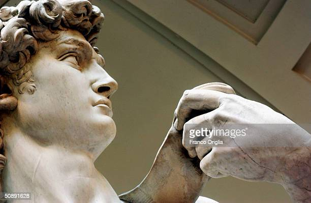 Restoration work on Michelangelo's masterpiece David is completed, May 24, 2004 at the Galleria dell'Accademia in Florence. The work has taken a...