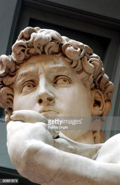 Restoration work on Michelangelo's masterpiece David is completed May 24, 2004 at the Galleria dell'Accademia in Florence, Italy. The work has taken...