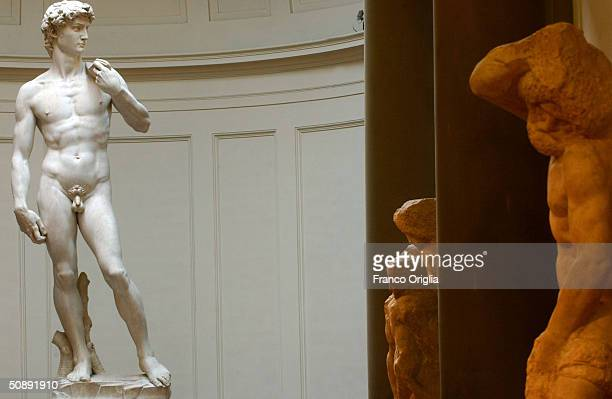 Restoration work on Michelangelo's masterpiece David is completed May 24 2004 at the Galleria dell'Accademia in Florence Italy The work has taken a...