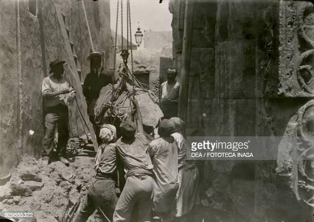 Restoration work on the Marcus Aurelius arch Tripoli Libya July 17 1913