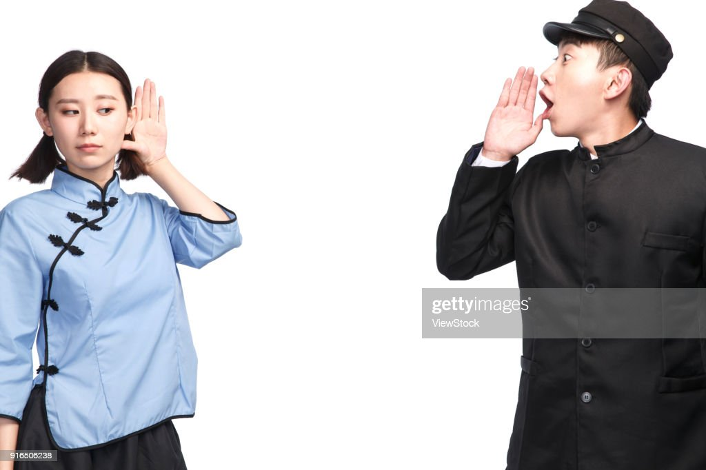 Restore ancient ways young men and women Shouting : Stock Photo