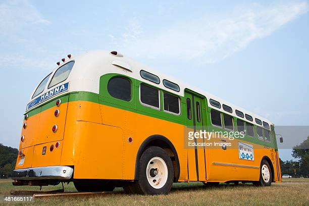 Restored bus Rosa Parks sat in December 1 1955 from Montgomery Alabama on Cleveland Avenue is seen in Washington DC National Mall for the 50th...