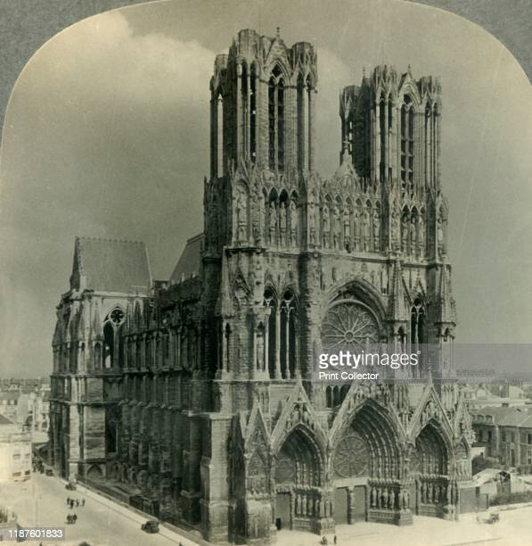 Restored Cathedral of Reims France' circa 1930s From Tour of the World [Keystone View Company Meadville Pa New York Chicago London] Artist Unknown