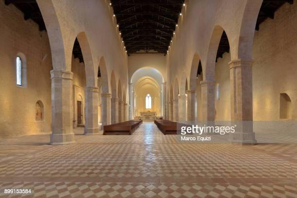 Restored interior of Santa Maria di Collemaggio church, 13th century, L'Aquila, Abruzzo, Italy, Europe.