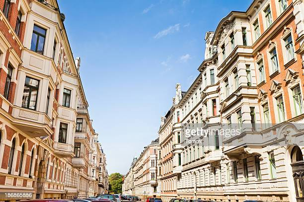 restored old townhouses - art nouveau stock pictures, royalty-free photos & images