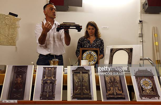A restorer from the Restoration of Museums of France research center explains the restoration of 18th century Boulle marquetry at the Louvre Museum...