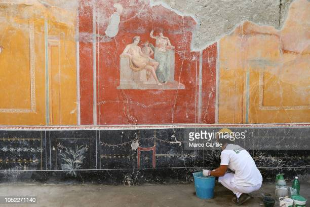 Restorer working on frescos in the House with Garden, a new excavation in the Regio V of the Pompeii excavations.