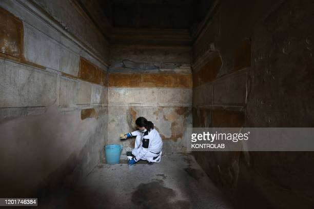 SCAVI POMPEI CAMPANIA ITALY A restorer works in the House of Ship Europe in the archaeological site of Pompeii the ancient Roman town buried by the...