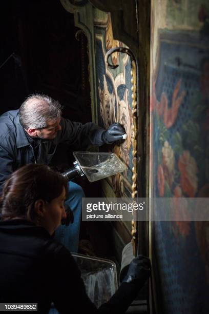 Restorers work on paintings on the ceiling of the Margravial Opera House in BayreuthGermany 17 May 2013 Anew information center is hoping to make...