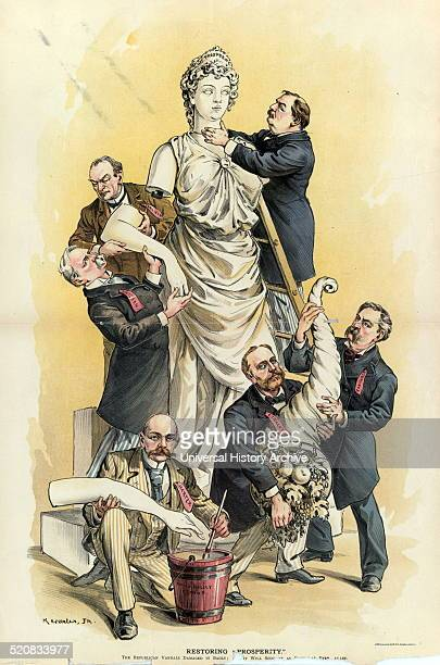 Restoring prosperity by Udo Keppler 18721956 artist 1893 Print shows President Cleveland and five men using Sound Policy Cement to repair a statue...