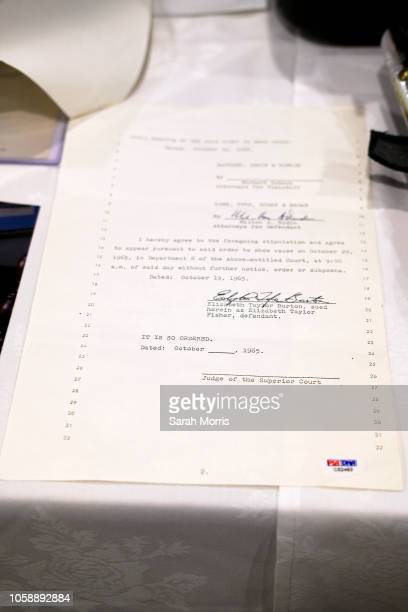 A restraining order against actress Elizabeth Taylor taken out by actor Richard Burton is seen at the Iconic Hollywood Music Memorabilia Auction...