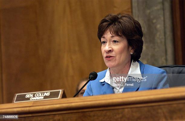 Chairman Susan Collins, R-Maine, during the Senate Governmental Affairs Committee hearing on ways to overhaul the U.S. Postal Service and the impact...