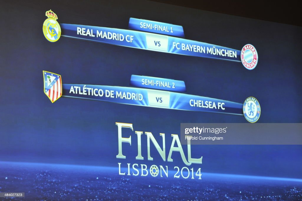Results are dispalyed during the UEFA Champions League 2013/14 season semi-finals draw at the UEFA headquarters, The House of European Football, on April 11, 2014 in Nyon, Switzerland.