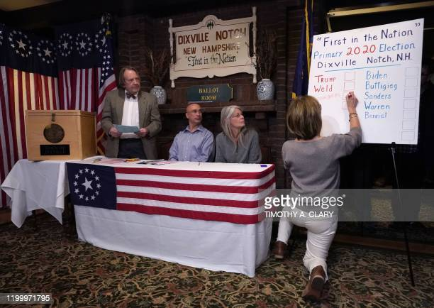 Results are written on a board just after midnight voting at the Hale House at the legendary Balsams Resort in the New Hampshire hamlet of Dixville...