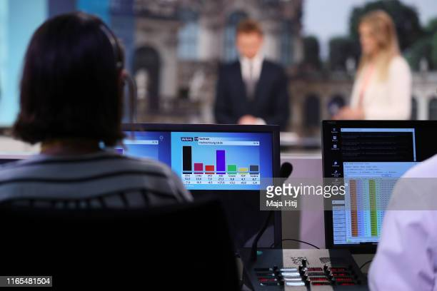 Results can be see on a screen for the initial exit poll results in the Saxony state elections on September 1 2019 in Dresden Germany Saxony and the...