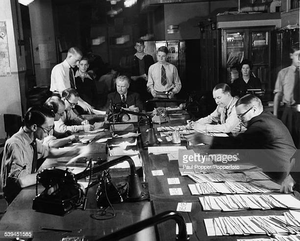 Results coming in at the Daily Herald newsroom in London during the General Election July 1945