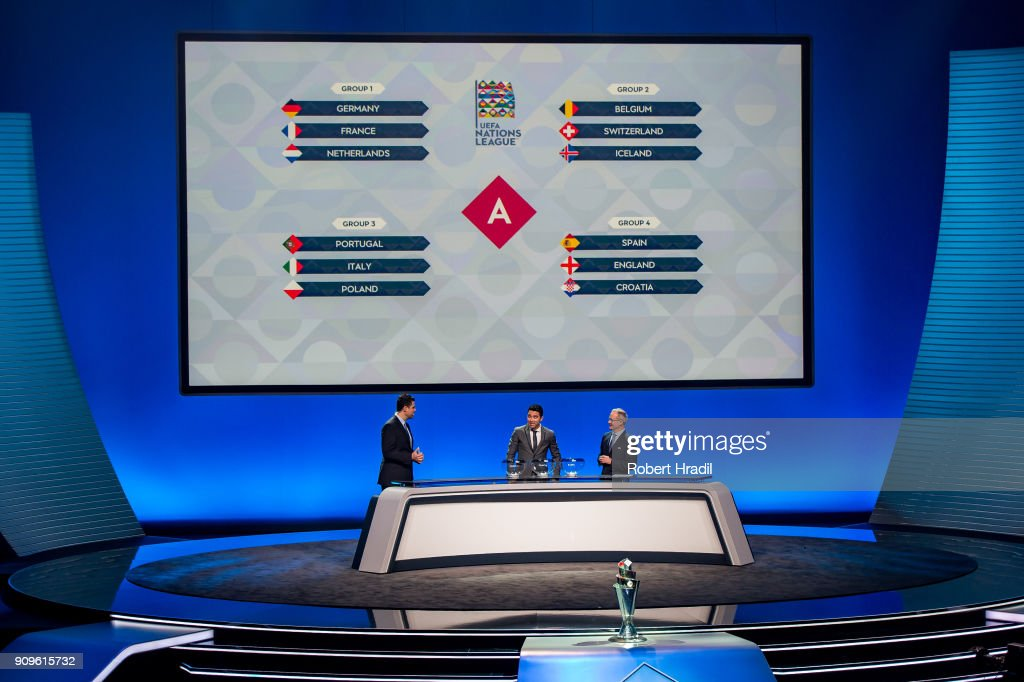 Results of the group A during the UEFA Nations League Draw 2018 at Swiss Tech Convention Center on January 24, 2018 in Lausanne, Switzerland.