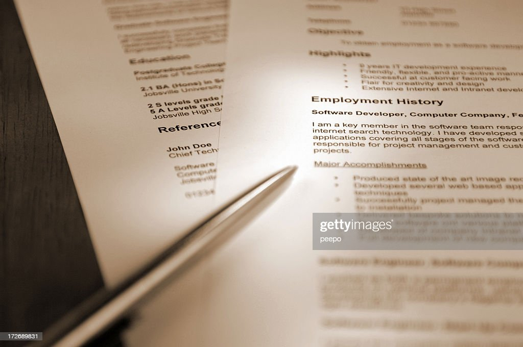 resume series : Stock Photo