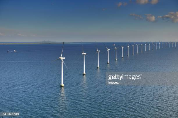 øresund offshore windturbines - windmills stock photos and pictures