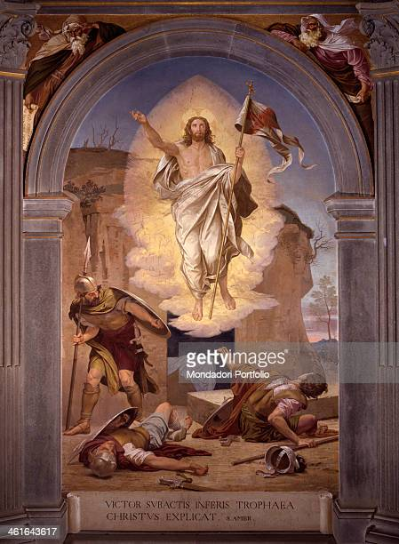 Resurrection by Alessandro Franchi 1880 1899 19th Century fresco Italy Tuscany Siena Monumental Cemetery Whole artwork view Christ rises in a halo of...