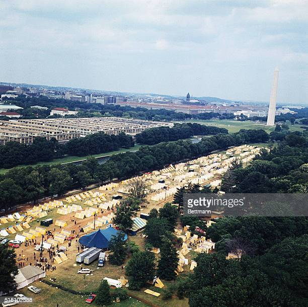 Resurrection City a plywood and canvas encampment that will house some 3000 participants in the Poor People's March on Washington is shown from the...