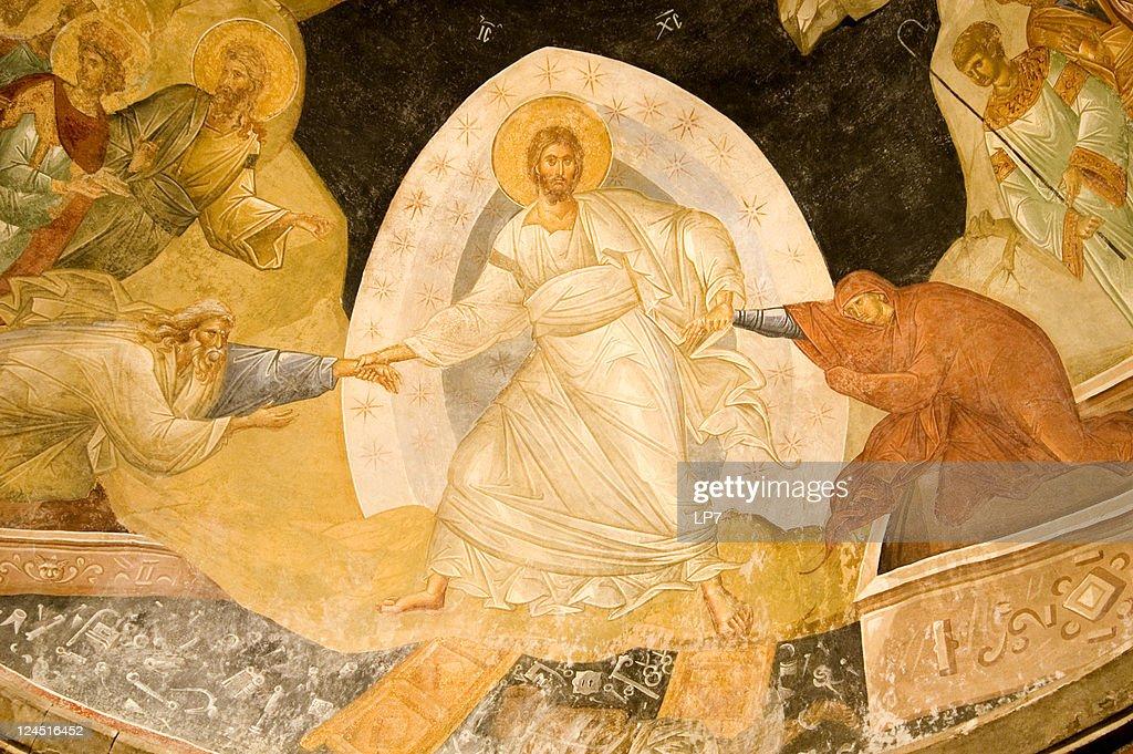 Resurrection fresco in Chora Church Istanbul Turkey : Stock Photo