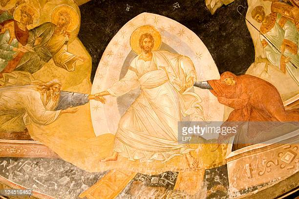 resurrection fresco in chora church istanbul turkey - orthodox church stock pictures, royalty-free photos & images