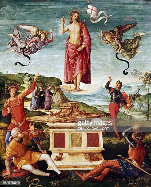 Resurrection of Christ 15011502 by Raphael oil on panel 52x44 cm Italy 16th century San Paolo Museu De Arte De Sao Paulo