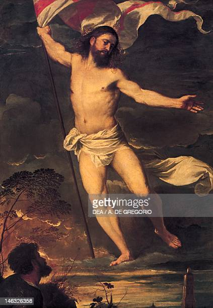 Resurrection of Christ detail from the central panel of the Averoldi Altarpiece 15201522 by Tiziano Vecellio oil on canvas 278x292 cm Collegiate...