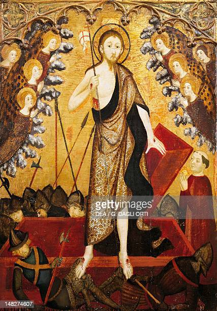 Resurrection of Christ the panel from the Altarpiece of the Holy Sepulchre 13811382 by Jaime Serra tempera on wood 138x115 cm Saragossa Museo...