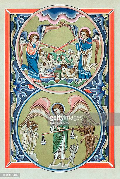 Resurrection of the dead and weighing of souls at the Last Judgement Chromolithograph after a 13th century Psalter