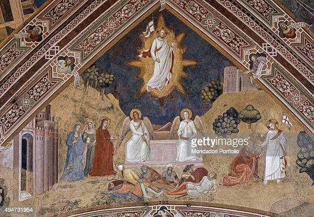 Resurrection Rib Vault by Andrea di Bonaiuto 13651367 14th Century fresco Italy Tuscany Florence Church of Santa Maria Novella Detail At the top of...