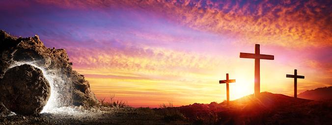 Resurrection - Tomb Empty With Crucifixion At Sunrise 1133764289