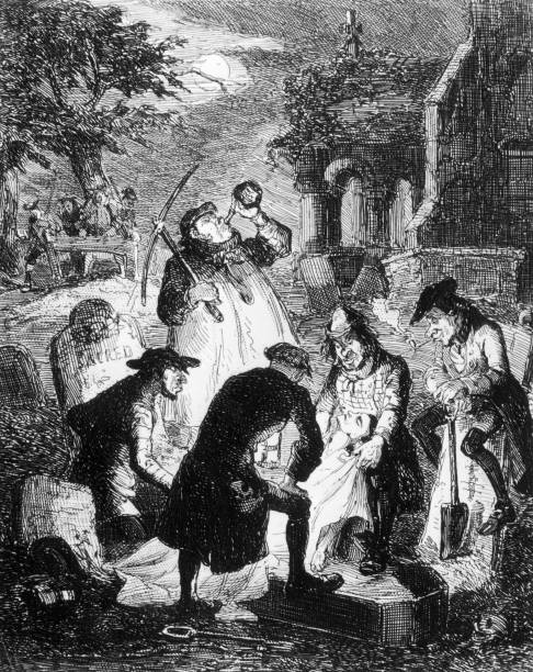 'Resurrectionists', or grave robbers, stealing a corpse...