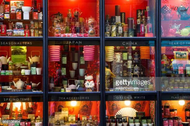 Retail display in window of specialist tea shop in London, UK