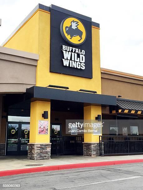 Retail sign Buffalo Wild Wings restaurant in Lakewood California