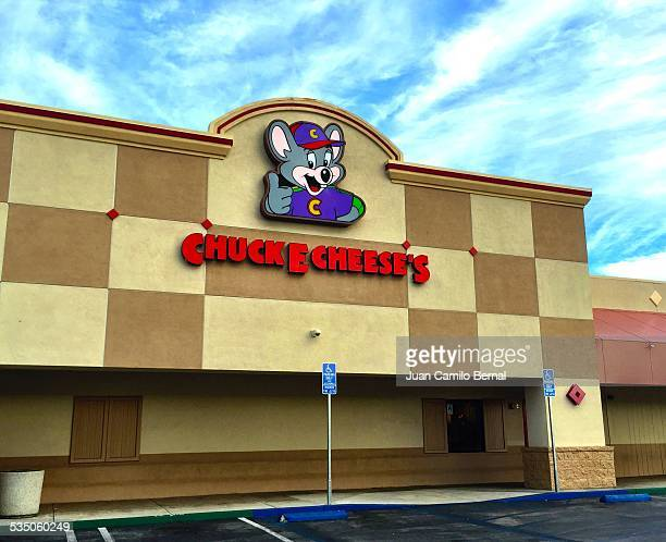 Retail sign Chuck E Cheese's restaurant and games in Lakewood California