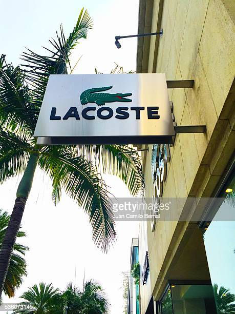 Retail signs Lacoste store in Rodeo Drive Beverly Hills California on January 28 2015