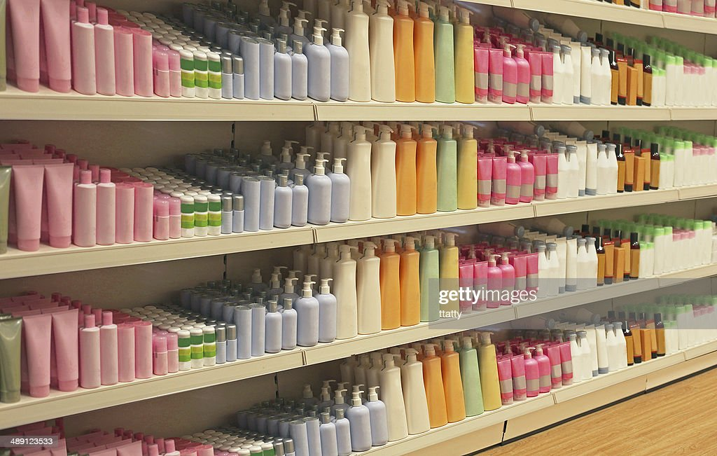 Retail store cosmetic shelves : Stock Photo
